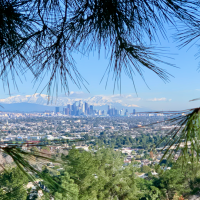 Downtown L.A. and the San Gabriel Mountains