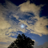 Moon, Clouds, Stars at 5:30am